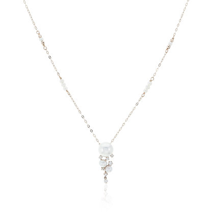 Akoya Pearls with Diamonds Pendant with Gold Chain Necklace