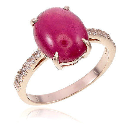 Oval Ruby Cabochon with White Topaz Ring