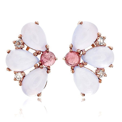Rhodolite and Moonstone Petals Studs