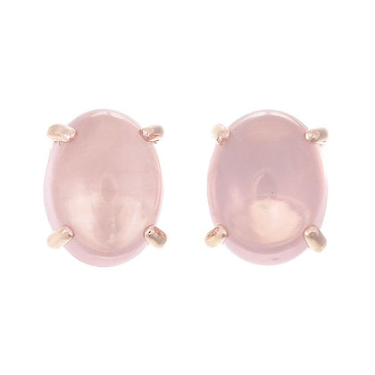 Oval Rose Quartz Cabochon Studs
