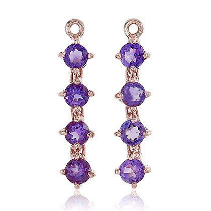 Round Cut Amethyst Chain Drops