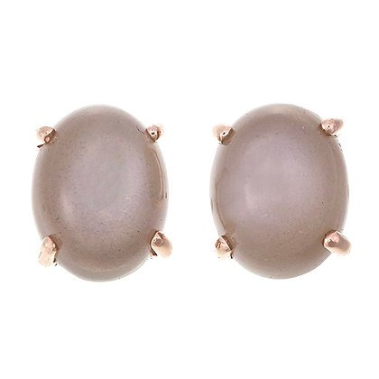 Oval Grey Moonstone Cabochon Studs