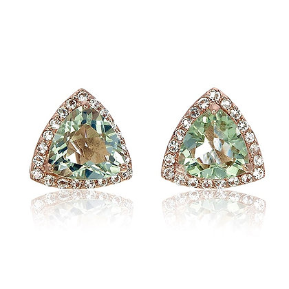 Trillion Cut Green Amethyst with White Topaz Pavé Studs