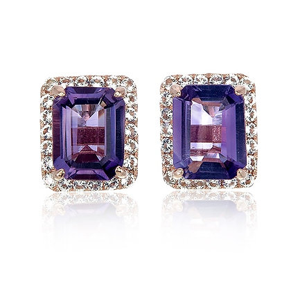 Emerald Cut Amethyst with White Topaz Pavé Studs