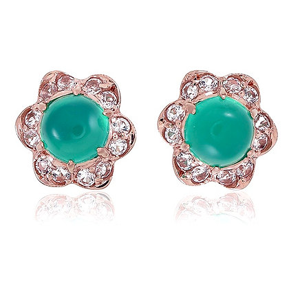 Green Chalcedony Cabochon with White Topaz Floral Studs