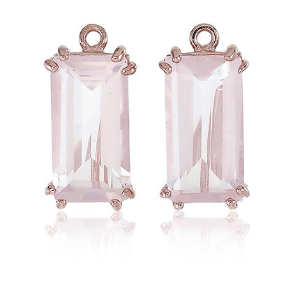 Baguette Cut Rose Quartz Drops