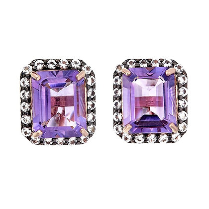 Emerald Cut Amethyst with White Topaz Pavé Studs in Black Rhodium