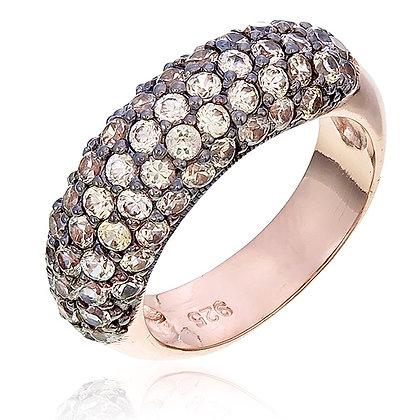White Zircon Cluster Ring in Rose Gold