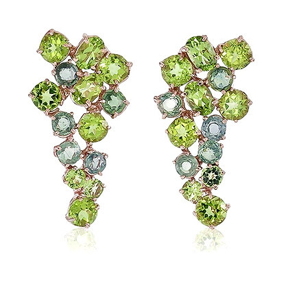 Peridot and Green Sapphire Cluster Studs
