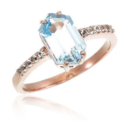 Hexagon Cut Blue Topaz with White Topaz Ring