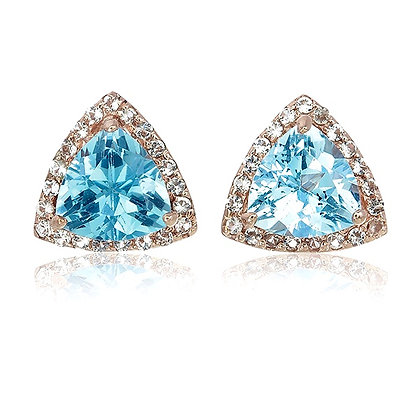 Trillion Cut Blue Topaz with White Topaz Pavé Studs