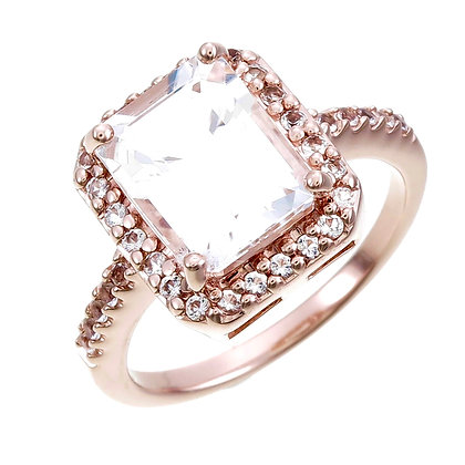 Emerald Cut White Topaz with White Topaz Accent and Pavé Ring