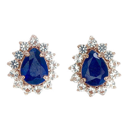 Pear Cut Blue Sapphire Cabochon with White Topaz Accent Studs