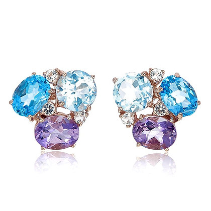 Blue Topaz and Amethyst with White Topaz Accent Cluster Studs