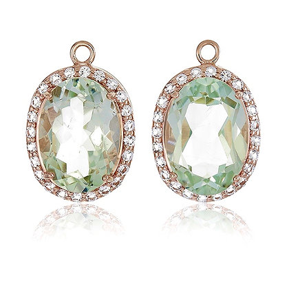 Oval Cut Green Amethyst with White Topaz Pavé Drops
