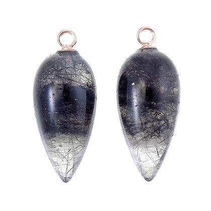 Black Rutilated Quartz Acorn Drops