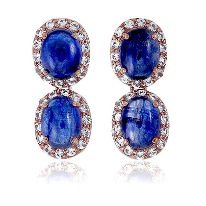 Double Oval Blue Sapphire Cabochons with White Topaz Pavé Studs