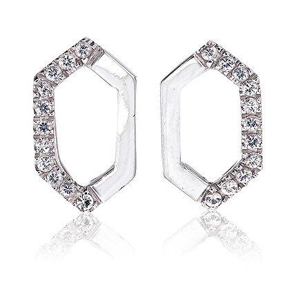 Hexagon Studs with White Topaz Accent in White Rhodium