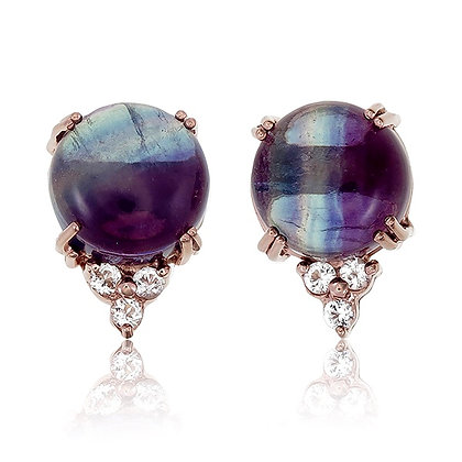 Round Fluorite Cabochon with White Topaz Accent Studs