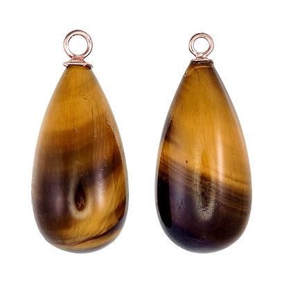 Yellow Tiger Eye Smooth Teardrops