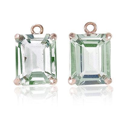 Emerald Cut Green Amethyst Drops