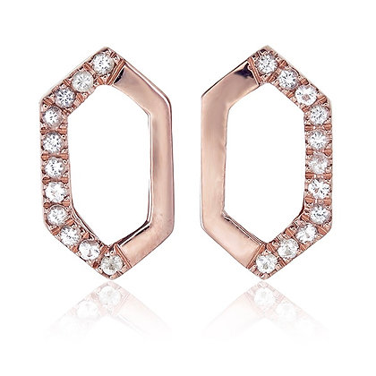 Hexagon Studs with White Topaz Accent in Rose Gold