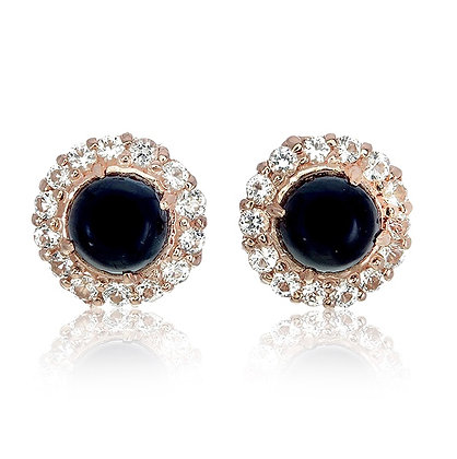 Round Black Spinel Cabochon with White Topaz Pavé Studs