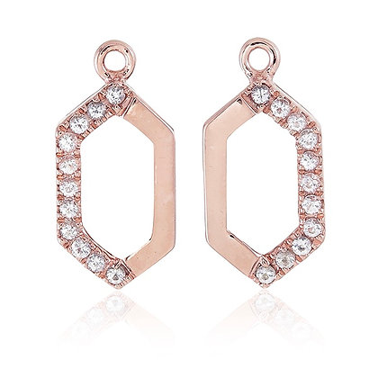 Hexagon Drops with White Topaz Accent in Rose Gold