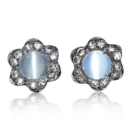 Moonstone Cabochon with White Topaz Floral Studs in Black Rhodium