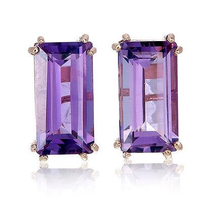 Baguette Cut Purple Amethyst Studs