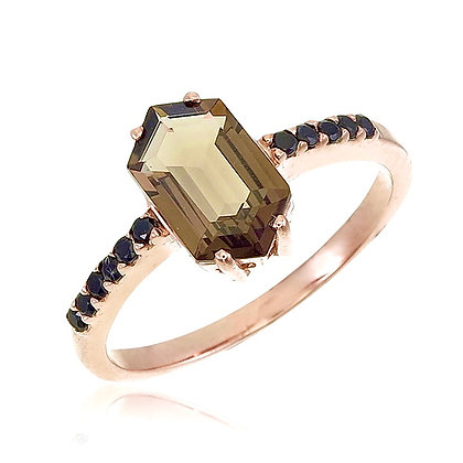 Hexagon Cut Smoky Quartz with Spinel Ring
