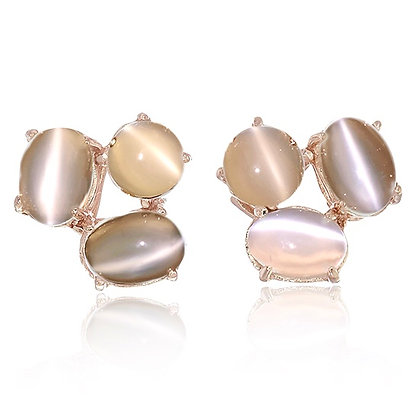 Oval Moonstone Cabochon Cluster Studs