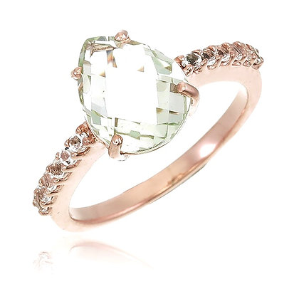 Fancy Cut Green Amethyst with White Topaz Ring