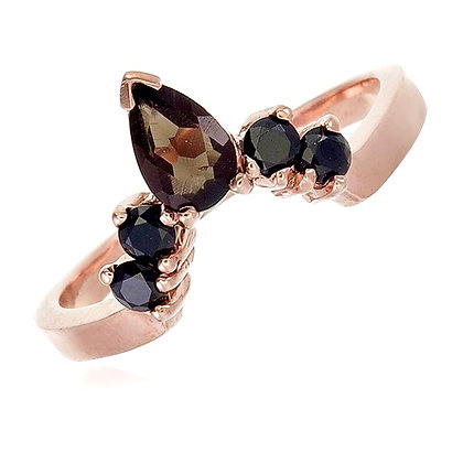 Pear Cut Smoky Quartz with Black Spinel Crown Ring