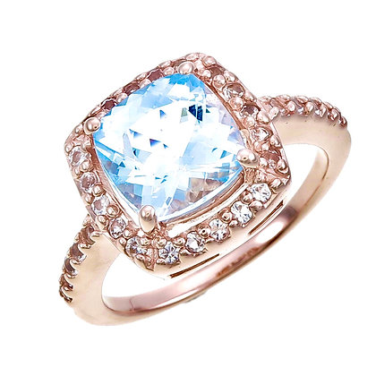 Pavilion Cut Blue Topaz with White Topaz Accent and Pavé Ring