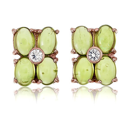Oval Peridot Cabochon Clover Cluster Studs