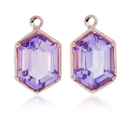 Hexagon Cut Purple Amethyst Drops