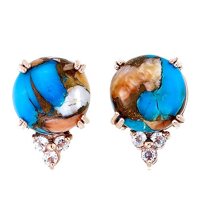 Round Mohave Copper Oyster Cabochon with White Topaz Accent Studs