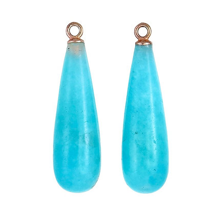 Peruvian Amazonite Long Smooth Teardrops