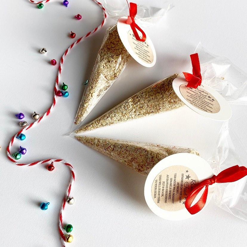 three bags of reindeer food