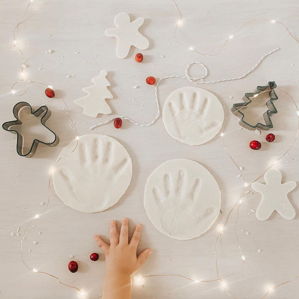 salt dough ornaments with hand prints for Christmas