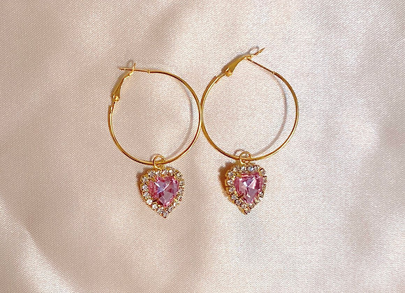 Pink Heart Diamond Hoops