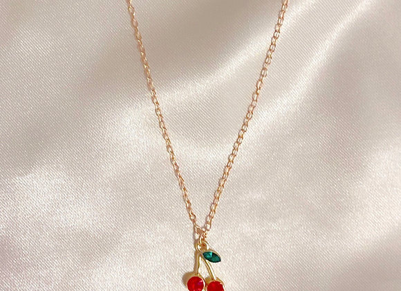 Red Diamond Cherry Necklace
