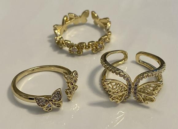 Diamond Butterfly Ring Set