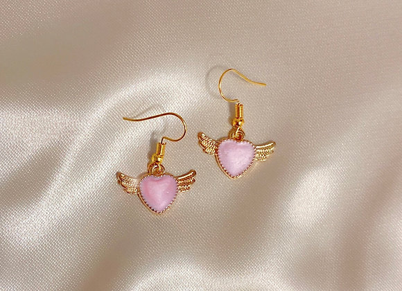 Pink Heart Angel Earrings