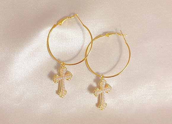 Pearl Cross Hoops