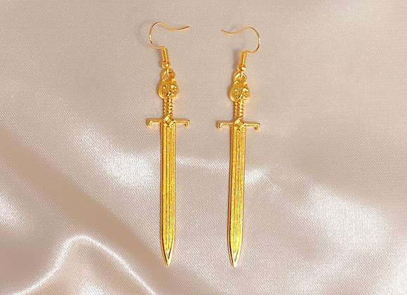 Gold Sword Earrings