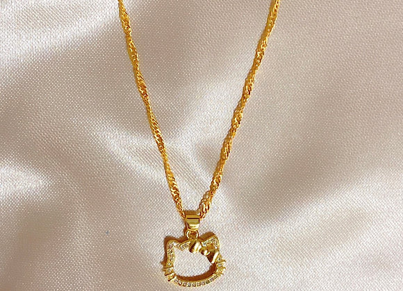 Kitty Diamond Charm Necklace