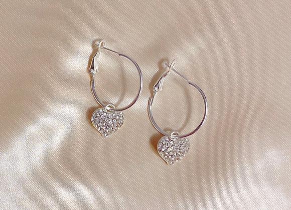 Silver Diamond Heart Hoops