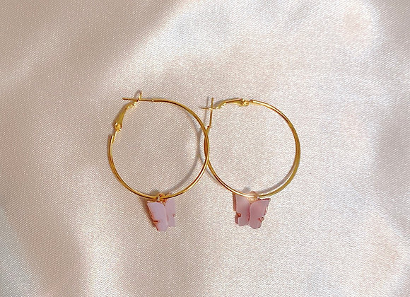 Baby Pink Butterfly Hoops